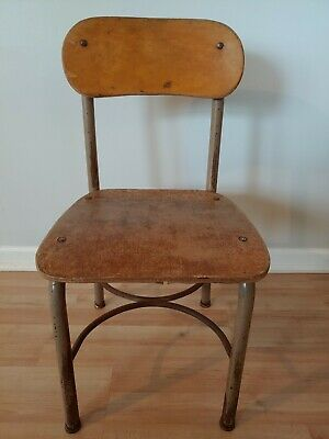 Vintage Rustic Decor NORCOR Child Size Wood Chair Youth School Desk Mid-Century