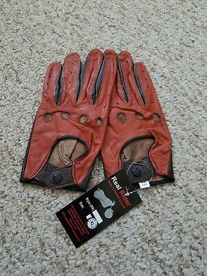 Men's Driving Two Tone leather Gloves  Size XL