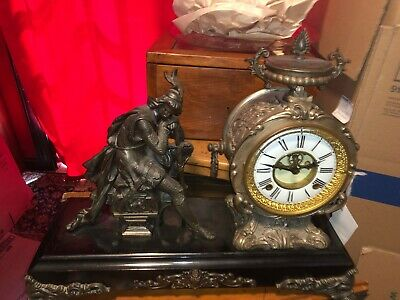 LARGE Antique New Haven Bronze IVANHO Clock 1900 with Key