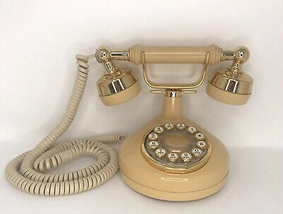 Western Electric Victorian French Style Push Button Princess Phone Beige TanGold