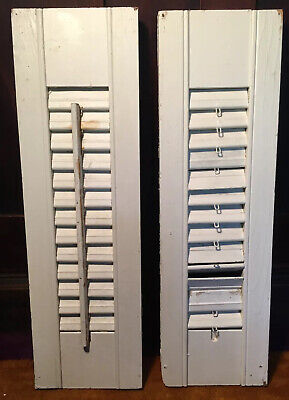 """Vintage White Louver Wood Shutters 20"""" by 6 1/8"""" Set of 2"""
