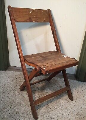 Vintage Antique Snyder Wood Slat Folding Chair Made in the USA