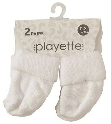 Playette Newborn Bootie Sock 0-3 Months White 2 Pack