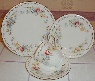Royal Kent Royal Albert Jubilee Rose Tea Set Cup Saucer & 2 Plates Embossed