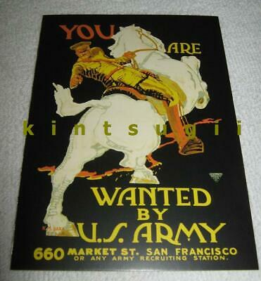 Wanted! USA Army vtg WW1 1917 Pershing on Horse San Francisco art MEMORIAL SALE