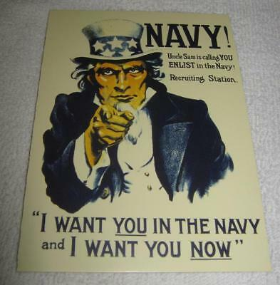 Uncle Sam Calling! Enlist Now! US NAVY 1917 vtg WW1 Military Art MEMORIAL SALE