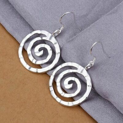 925 Sterling Silver Squiggle Spiral Drop Earrings  + Gift Bag Womens Jewelry UK