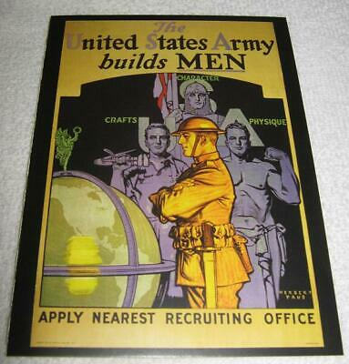 USA ARMY BUILDS MEN 1919 Paus Physique vtg WW1 Military Recruiting MEMORIAL SALE
