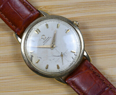Vintage OMEGA Bumper Automatic F6212 Cal 344 14k Gold Filled Men's Watch Leather