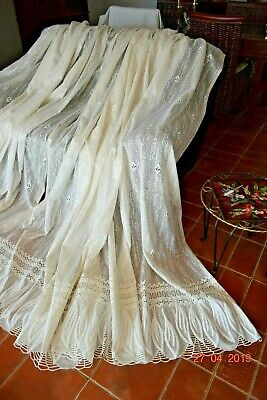 Beautiful Massive Vintage French Lace Pair Curtains