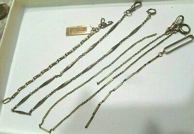Vtg Antique Victorian Lot of 3 Watch Chains Fobs 14K Yellow Gold 21.1grams