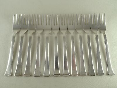 FACEON / 2500 by WMF 90 Silverplate Art Deco Set of 12 Pastry Forks 3 Tined