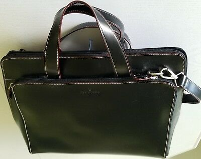 Samsonite Black Leather Business Portfolio 922505 17 x 13 x 5 Many Compartments