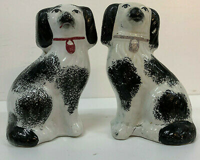 Antique Staffordshire Pottery Pair Spaniel Dogs Black White 19th century