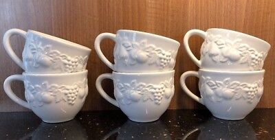 M&S Embossed White Fruits Cups X 6
