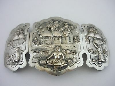 Stunning Rare Very Large Vintage Heavyweight Solid Silver Nurses Buckle- Indian