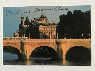 Signed CHRISTO & JEANNE CLAUDE Postcard 1985 Pont Neuf Wrapped