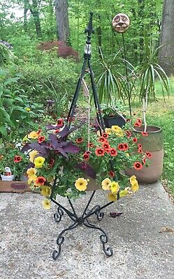 Vintage Wrought Iron Plant Stand for Hanging Flower Plant Pot