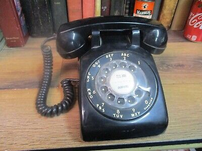 Rotary Dial Desk Telephone Black Itt Bell System  Retro Western Electric Pastel