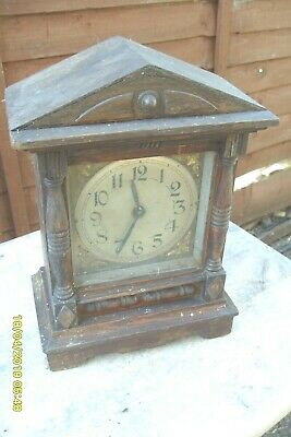 "Small Mantel  Clock  Old  Time  Piece  + Key Wound  10 1/4"" Tall"