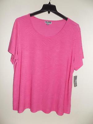 JM COLLECTION $42.50 Jacquard Scoop Neck Top 1X 14W 16W Pink and Black NWT