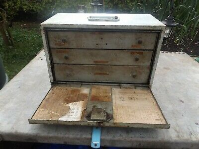 old vintage engineers tool chest with key