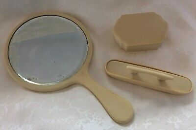 VTG PYRALIN BUBARRY Celluloid Vanity Set: Hand Mirror, Nail Buffer, Trinket Box