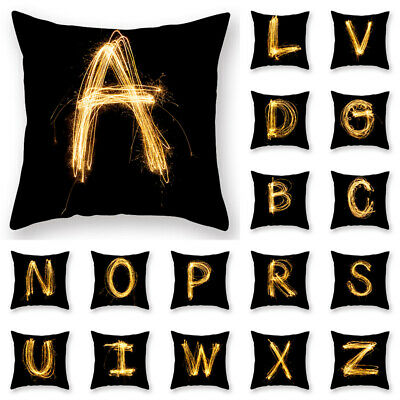 Hot Pillow Cover Black and Gold Letter Pillowcase Sofa Cushion Cover Home Decor
