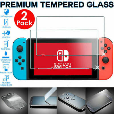 2Pcs PREMIUM TEMPERED GLASS Screen Protector Cover For Nintendo Switch Console