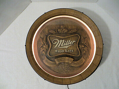 Vintage MILLER HIGH LIFE BEER LIGHTED FAUX BARREL BAR SIGN Pub Man Cave Works!