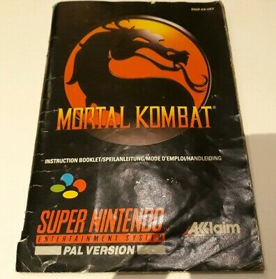 Mortal Kombat Instruction Booklet Manual SNES (stickers on non English pages)