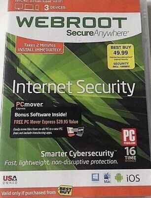 Webroot SecureAnywhere Antivirus Internet Security 3-Device 6 months E-Delivery