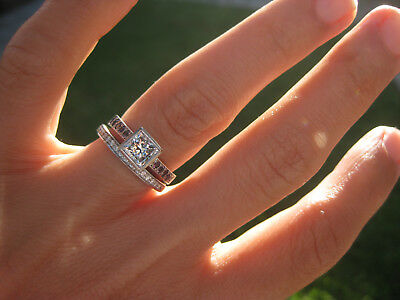 18 carat white gold princess cut diamond engagement ring & diamond wedding band