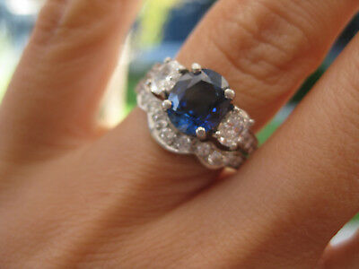 Sapphire and diamond platinum engagement  and wedding ring