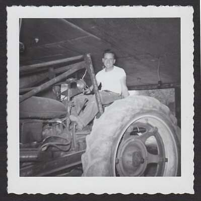 Old Tractor Man Tee Shirt In Garage Old/Vintage Photo Snapshot- A167