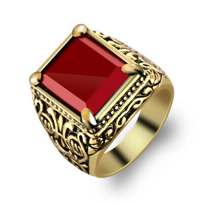 Unisex Men Retro Silver Gold Filled Gemstone Embed Ring Rock Totem Band Jewelry