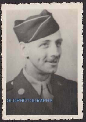 Dimple Cheek Handsome Army Man Soldier Old/Vintage Photo Snapshot-M75
