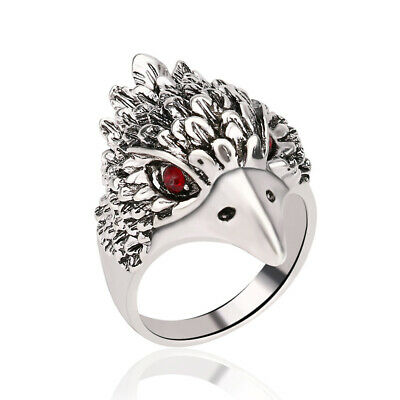 Men's Punk Ring Ancient Silver Eagle Head Vintage Rock Ring Jewelry Gift Size 10
