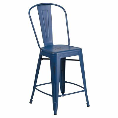 Flash Furniture 24 in. Distressed Metal Indoor-Outdoor Counter Height Stool with