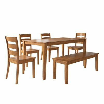Weston Home Lexington 6 Piece Dining Set with Bench and Ladder Back Chairs