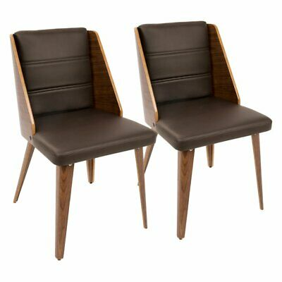 Prime Lumisource Galanti Set Of 2 Dining Chair In Walnut And Cream Ncnpc Chair Design For Home Ncnpcorg