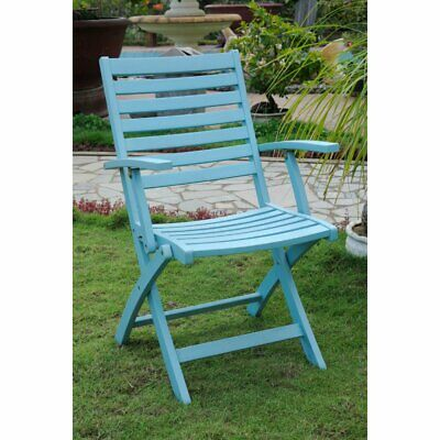 Chelsea Acacia Folding Ladder Back Patio Arm Chair - Set of 2