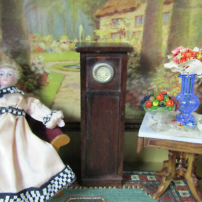 Antique Dollhouse GERMAN RED STAIN GRANDFATHER CLOCK Miniature Wood Furniture