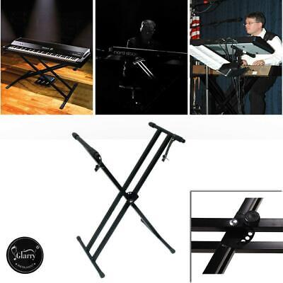 Heavy Duty Double Braced Piano Keyboard Stand X Style Frame Height Adjustable UK