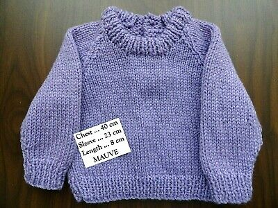 Baby Hand Knitted Girls Jumper In Dark Mauve...chest. 40 Cm