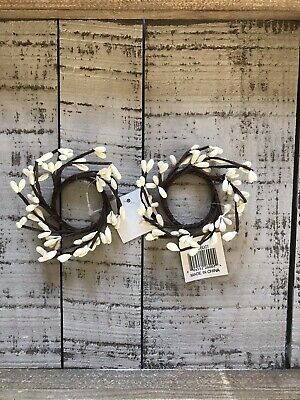 "Ivory Pip Berry Candle Rings Napkin Rings 1.5"" Farmhouse Primitive Cottage"