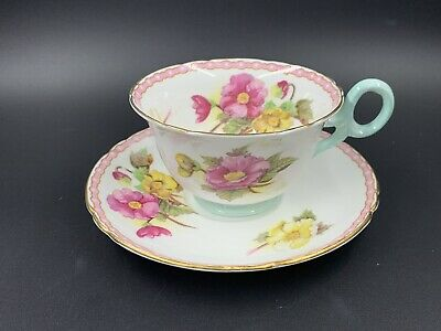 Shelley Begonia Tea Cup And Saucer Set Bone China England
