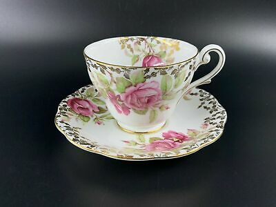 Royal Standard Gold Lace with Rose Tea Cup and Saucer Set Bone China England