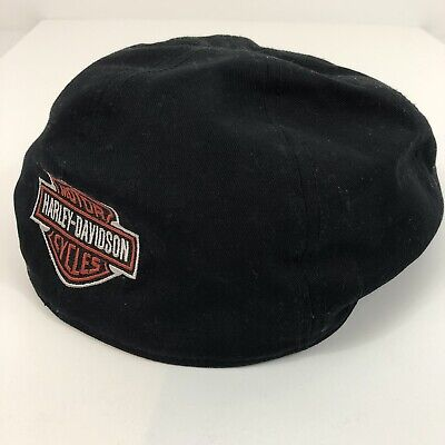 866208dc Harley Davidson Motorcycle Black Cabbie Cap Newsboy Riding Biker Hat Size  SMALL