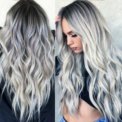 ##Women Gradient Grey Long Curly Wig Wavy Hair Heat Resistant Wig Synthetic NEW